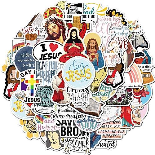 BLOUR 50 Uds Nuevo Jesús Cristianos creen en Refranes Famosos Pegatinas de Palabras para estilizar Equipaje Nevera portátil monopatín Chico Juguete Pegatina