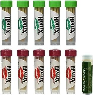 HOTLIX TOOTHPIX Cinnamon & Mint Toothpicks .16 oz (14-16 stix per tube) Variety Set - 5 Tubes of Each (10 Tubes Total) with a Jarosa Bee Organic Peppermint Lip Balm by Jarosa Gifts