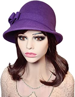 857770792aad3 YSJOY Womens 100% Wool Contrast Color Bowknot Bucket Hat Cloche Hat Winter  Hat