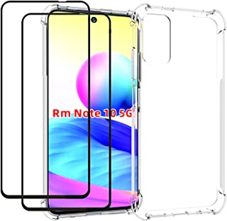 EasyLifeGo for Xiaomi Redmi Note 10 5G / Xiaomi Poco M3 Pro 5G Case with Tempered Glass (2 Pieces) Slim Shock Absorption T...
