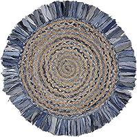 Denim and Natural Jute Round Swirl Fringed Rug