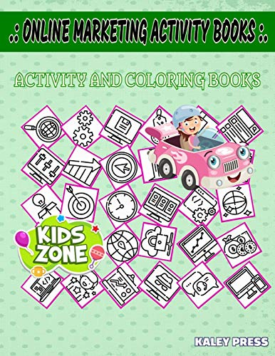 Online Marketing Activity Books: Image Quiz Words Activity Coloring Book 40 Funny Moneybag, Typewriter, Idea, Optimization, Resume, Ranking, Resume, Search For Kid