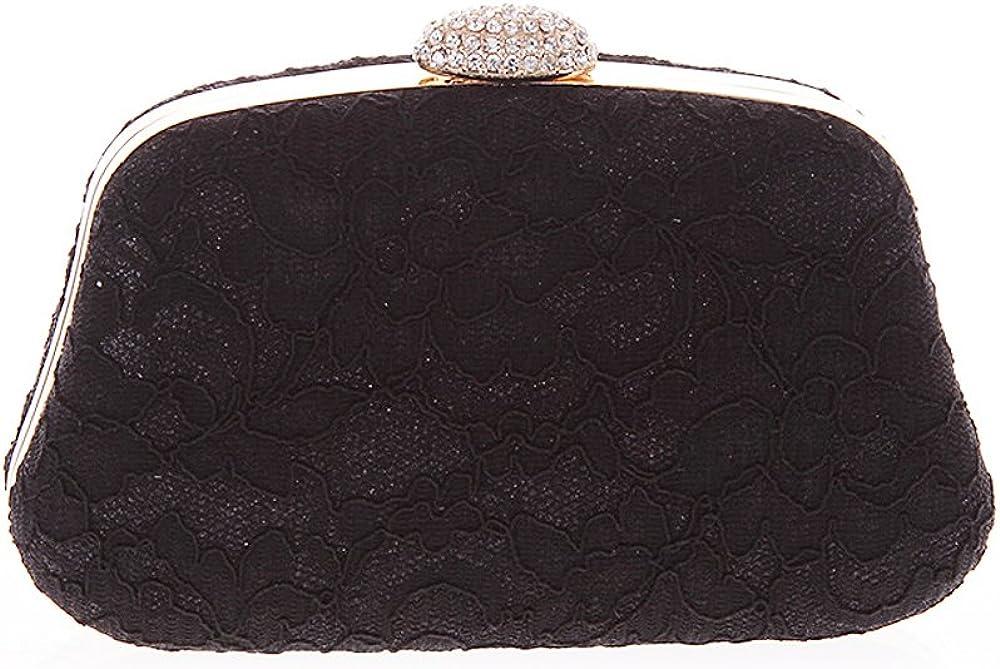 Womens Elegant Lace Evening Bag Clutch Hard Case Rhinestone with Chain Purse Wedding Bridal Party Handbag