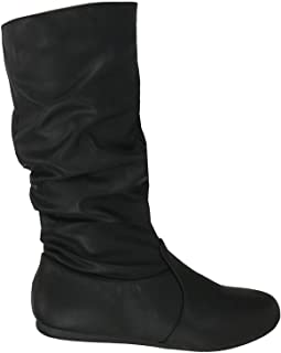 Wells Collection Womens & Girls Slouchy Wonda Boots Soft Flat to Low Heel Under Knee High