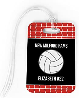 Volleyball Luggage & Bag Tag   Personalized Team with Volleyball   Standard Lines on Back   MEDIUM   RED/BLACK