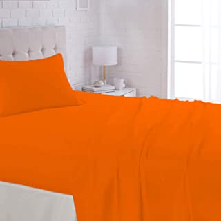 Fitted Sheet 2Pcs Set - Cotton 144 Thread Count, Single Size, Orange, Twin/Single