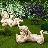 2 Estatuas de Niños de Resina de Jardín Escultura Luminosa de Niño Niña Figura de Infantil Sosteniendo Tarro de Luciérnaga Iluminado con Energía Solar Estatuas de Arte Pequeñas para Césped