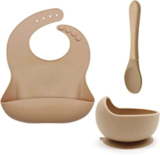 Ginbear Silicone Baby Feeding Sets, Baby Feeding Utensils Silicone Baby Bib Suction Bowl Training Spoons, BPA Free Tablewa...