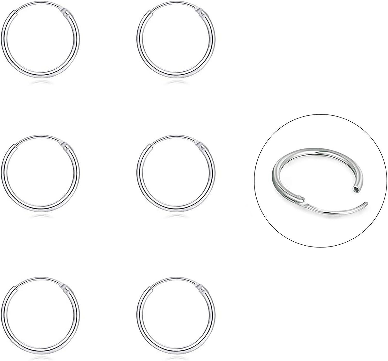 Silver Hoop Earrings- Cartilage Earring Endless Small Hoop Earrings Set for Women Men Girls,3 Pairs of Hypoallergenic 925 Sterling Silver Tragus Earrings Nose Lip Rings (8mm/10mm/12mm)