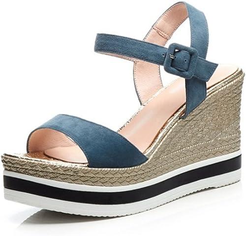 chaussuresDQ Talons Hauts Femme Adulte Taille 22.0cm à 24.5cm Talon Talon Talon compensé en légère AugHommestation de l'été Bleu Confortable e6e