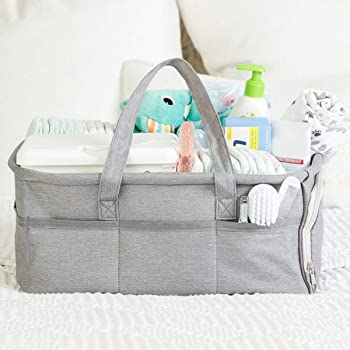 Baby Diaper Caddy Organizer, Large Grey Portable Diaper Holder for Nursery or Car