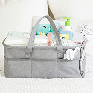 Baby Diaper Caddy Organizer by Kids N Such - Zipper Pocket - Large 15x12x7 Portable Diaper Holder Basket for Nursery or Ca...