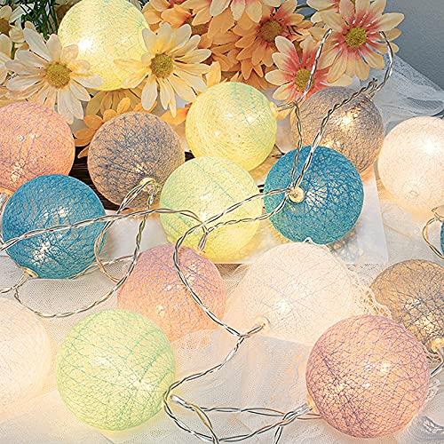 300CM 20 Globo Cadena de luces Batería LED Guirnalda Luces Interior LED Bola de algodón Cadena de luz Fiesta Luces de Navidad (Macarons)