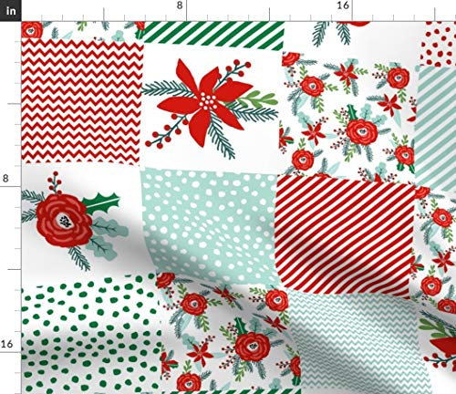 Spoonflower Fabric - Christmas Cheater Quilt Wholecloth Top Holiday Xmas Flower Winter Printed on Petal Signature Cotton Fabric by The Yard - Sewing Quilting Apparel Crafts Decor