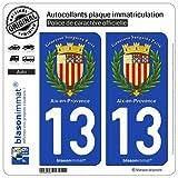 blasonimmat 2 Autocollants Plaque immatriculation Auto 13 Aix-en-Provence - Armoiries II