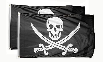 DANF 2 Pack Pirate Jack Rackham Flag Knife Jolly Roger Skull and Crossbones3 by 5 FT Polyester Flag Banner