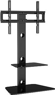 BONTEC Meuble TV Pied Orientable avec 2 Étagères en Verre Trempé pour 30-65 Pouces LED OLED LCD Plasma écran Plat Incurvé ...