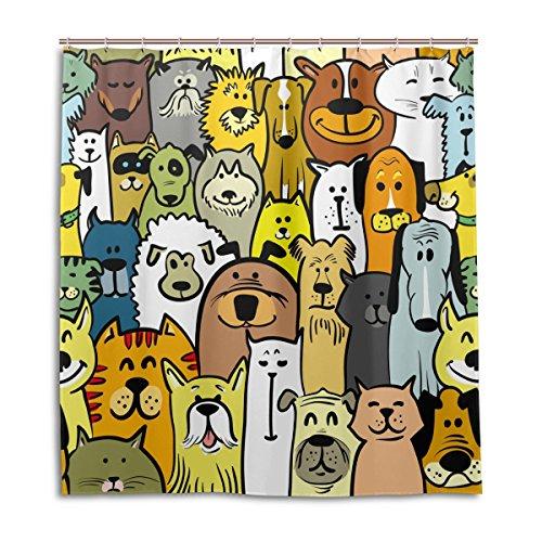 MyDaily Dogs Cats Cartoon Doodle Duschvorhang, 183 x 183 cm, schimmelresistent und wasserdicht Polyester Dekoration Badezimmer Vorhang