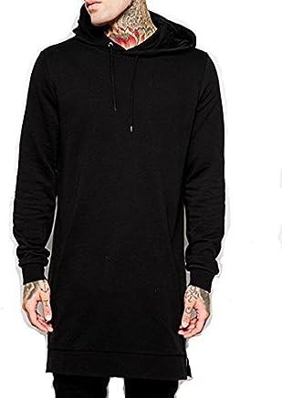 1636bc8e23843 LIWEIKE Men s Hipster Hip Hop Longline Pullover Hooded Sweatshirt