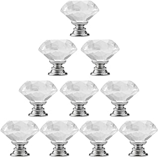 Marrywindix 10pcs 30mm Clear Crystal Glass Knob, Drawer Cabinet Pull Handle Knob for Home Kitchen Drawer
