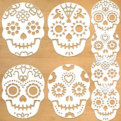 Qpout 8 Piezas Día de los Muertos Plantillas de Plantillas de Pastel, Calavera de azúcar Plantillas para Tartas de cumpleaños, para Fiesta de Halloween Decorar Tartas/Galletas/repostería