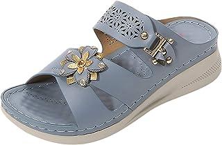 Strandsandalen voor dames, strandsandalen met strasssteentjes, slip-on slingback, wedge peep toe sandalen, zomer, outdoor ...