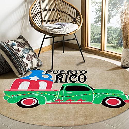 Alfombra de área redonda grande para sala de estar Coche de Puerto Rico Retro Grano de madera Botella de vino Alfombras decorativas contemporáneas Alfombrillas antideslizantes con respaldo de