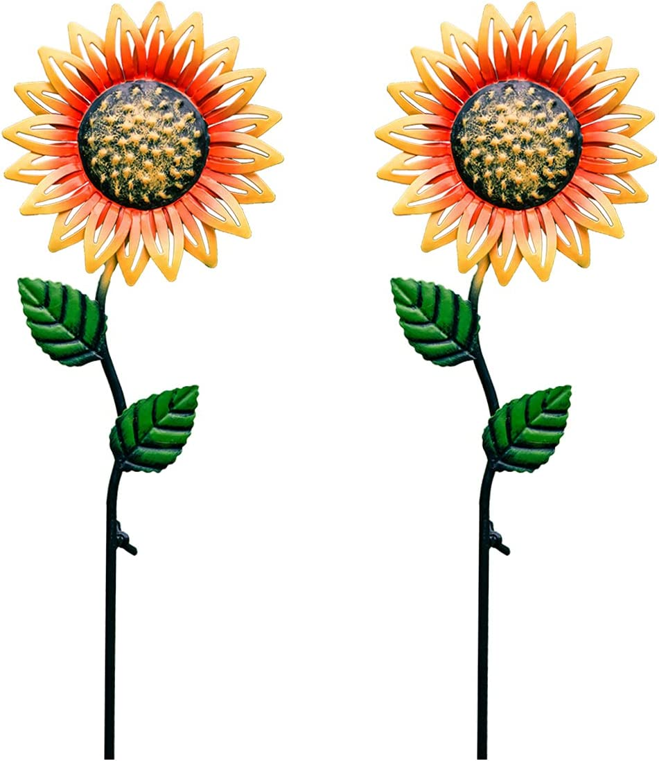 udensep Outdoor Metal Flowers Garden Decor 2 Rust- Stakes Max 62% OFF Pieces Popular products