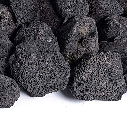 Black 1-3 Inch Lava Rock | Fireproof and Heatproof Volcanic Lava Rock, Perfect for Fire Pits, Fireplaces, BBQs and More. Indoor and Outdoor use - Natural Stones | 10 Pounds