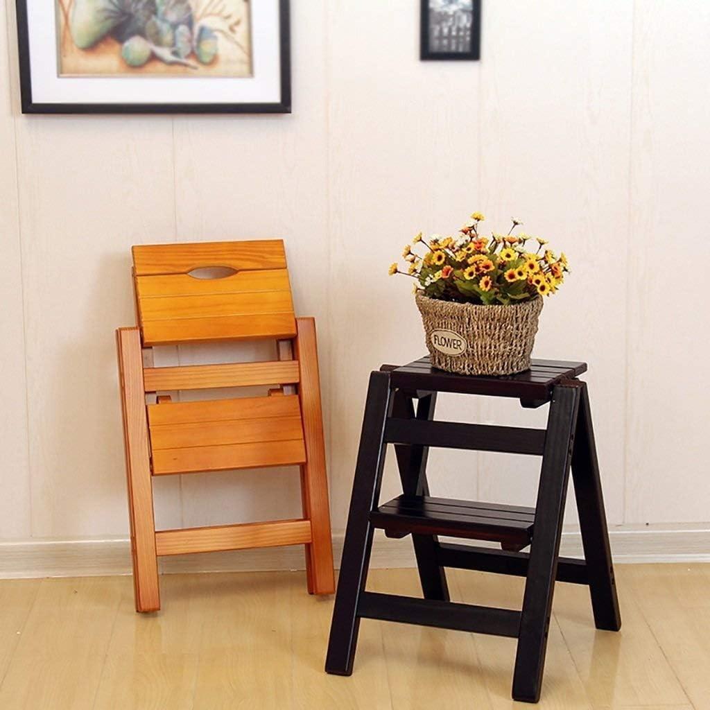 HLL Escabeau, en bois massif Fold Chaise d'escalier des ménages Échelle Deux étapes multifonction Ladder,C B