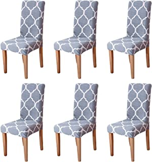 Eage Dining Chair Covers 6 Pack, Super Fit Stretch Removable Washable Spandex Fabric Protector Cover Seat Slipcover for Hotel, Ceremony, Kitchen, Banquet Wedding Party(Gray)
