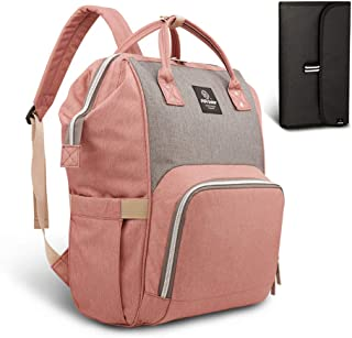 Pipi bear Nappy Changing Bag, Multi-Functional Waterproof Travel Diaper Bag Backpack with Changing Pad (Pink-Gray)
