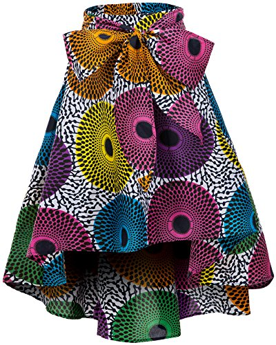 Shenbolen Women African Traditional Costume Flower Print Casual Dashiki Skirt (X-Large,F)