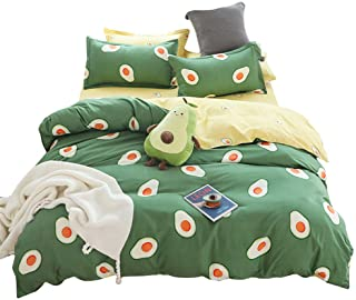 BeddingWish Cartoon Green Avocado Printed Bedding Hidden Zipper Reversible Kids Duvet Cover Sets-Queen(3Pcs)