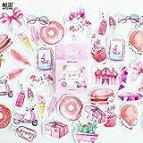 BLOUR 45 unids/Pack Rosa Tema de Verano papelería Decorativa Pegatinas Adhesivas Etiqueta Diario papelería DIY álbum Pegatina Conjunto