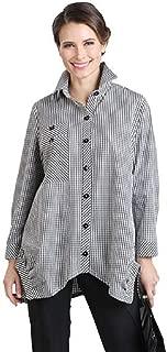 Striped Long Shirt in Black & White - 8423