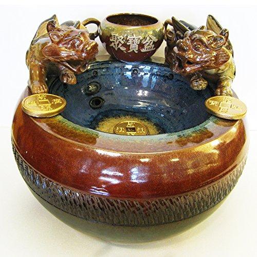 Handgemachte Keramik Zen Kunst der Meditation |Elegante Schönheitsdekoration für Haus oder Garten|Feng Shui PI-Xiu glücklicher Brunnen Dekoration mit Pumpe & LED-Licht (großes Set-L37xB35xH30xB20cm)