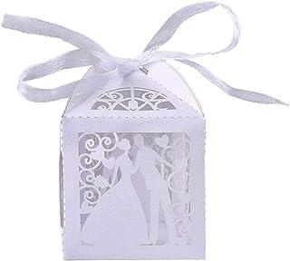 Tomkity Scatola Bomboniera Scatolina Portaconfetti Segnaposto Carta Kraft per Compleanno Battesimo (100 Sposa Bianco)