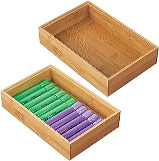 mDesign bac de rangement pour bureau et tiroirs (lot de 2) – rangement tiroir rectangulaire en bambou – organiseur de bure...