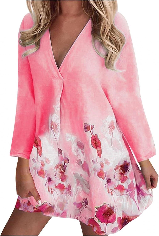 ManxiVoo Women Long Sleeve V Neck Dress Plus Size Floral Print Cotton and Linen Short Mini Dress