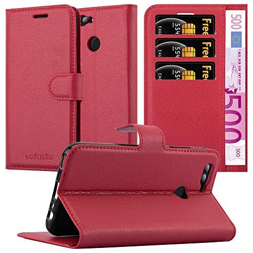 Cadorabo Hülle für Huawei NOVA 2 - Hülle in Karmin ROT – Handyhülle mit Kartenfach & Standfunktion - Hülle Cover Schutzhülle Etui Tasche Book Klapp Style