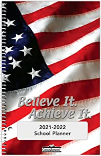 """2021-2022 Middle/High School Student Planner - 5.5""""x8.5"""" - Believe It Achieve It Cover - Durable Poly Plastic Cover"""