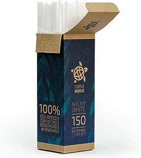 Eco-Friendly Biodegradable Drinking Straws │ Plant-Based, Bendy PLA Plastic Straws in Dispenser Gift Box │ 150 Bulk Pack – by Turtle World