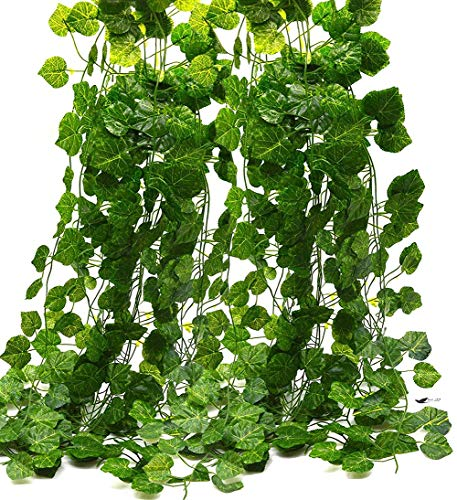 RAUVOLFIA Artificial Fake Hanging Vine Plants Leaves Greenery Garlands for Wedding, Party, Wall,Patio or Yard Decoration, Perfect as Fence Privacy Screen (354 Feet, 36 Pack, Green Grape Leaves)