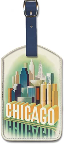 Pacifica Island Art Leatherette Luggage Baggage Tag – Chicago by Henry Bencsath