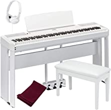 Yamaha P515WH 88-Key Digital Piano White bundled with the Yamaha L515WH Piano Stand, the Yamaha LP1WH 3-Pedal Unit, Padded Piano Bench, Dust Cover and Stereo Headphones