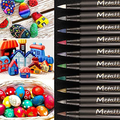 BeIM Metallic Pinselstifte Set 10 Farben Marker Stifte für Gästebuch Hochzeit DIY Fotoalbum Stein Glas Töpferei Plastik Holz