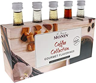 Monin - 5 Flavor Gourmet Flavoring Coffee Collection: Amaretto, Hazelnut, Caramel, Irish Cream, & Vanilla, Vegan, Non-GMO, Gluten-Free (1.7 oz per bottle)