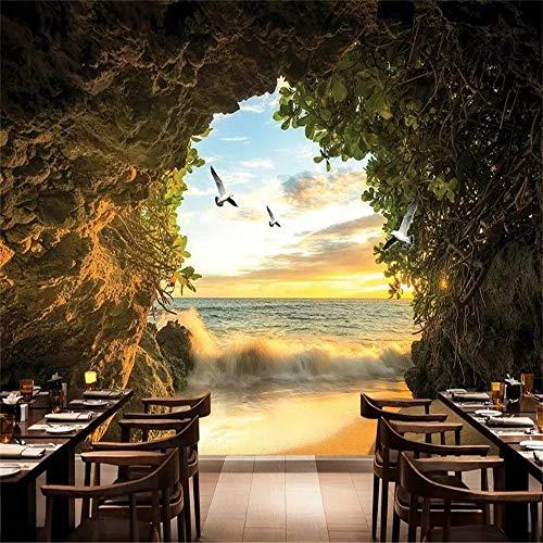 Zhcm Tapete Moderne Mode Höhle Meer Strand 3D geprägte Tapete 3D Wohnzimmer Schlafzimmer Wand 3D Tapete, 400 * 280 cm