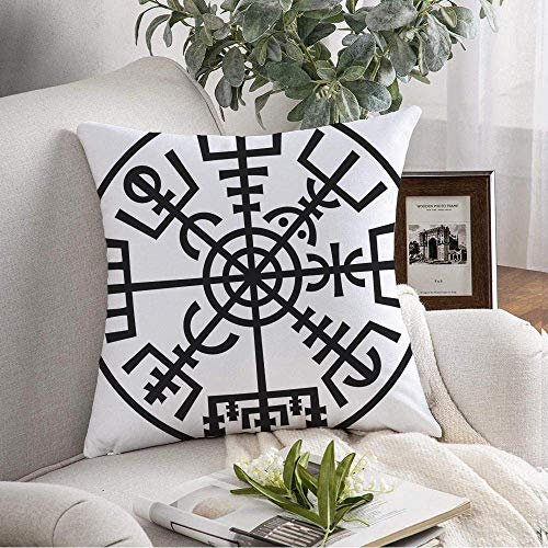N\A Funda de Almohada Decorativa Cuadrada Magic Elfin Navigation Compass Vikings Thor Runescript Signos Galdrastafir en símbolos Wicca de Funda de cojín Suave para sofá de Dormitorio